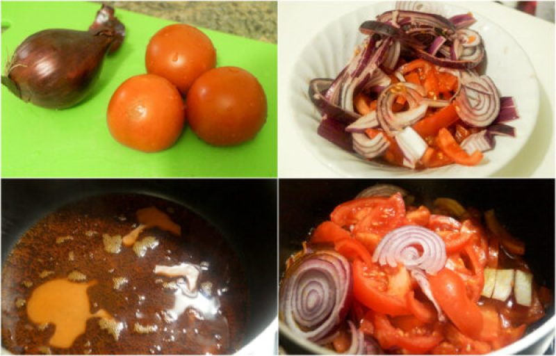 the process in making tomato sauce with onion and chopped tomatoes. this will be chopped and cooked in palm oil.