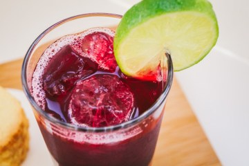 overhead shot of hibiscus (sorrel) drink