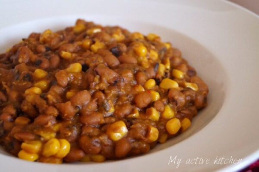 adalu (beans and sweet corn cooked in sauce until soft and tender)