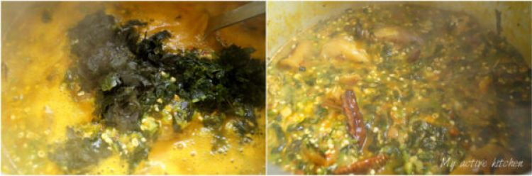 image collage of uziza added to okro soup