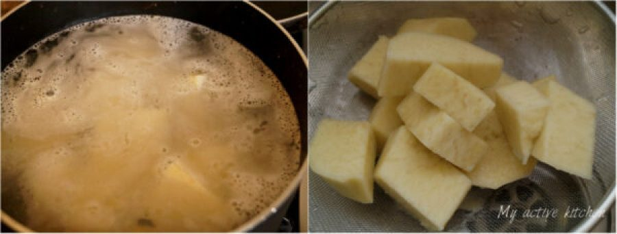 process shot of how to boil yam