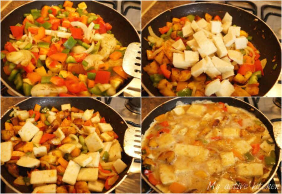 process shot of how to make yam and plantain frittata