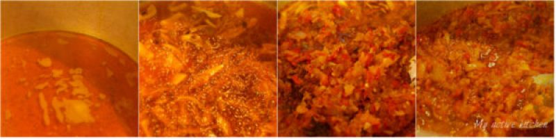 process shot of of how to fry stew for spinach stew