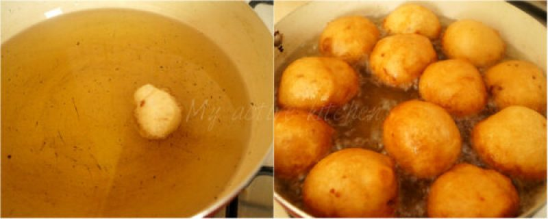 image of puff puff being fried in hot oil