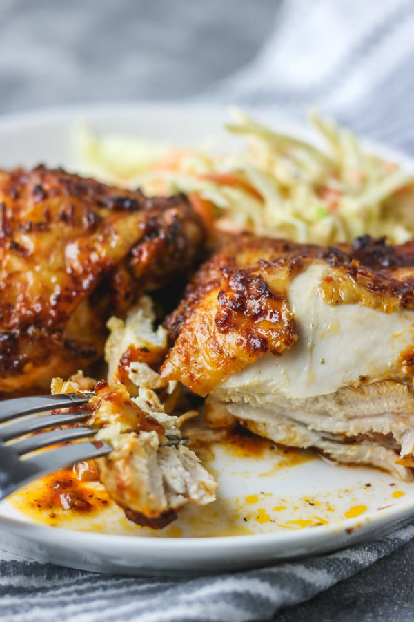 baked spicy chicken on a close shot