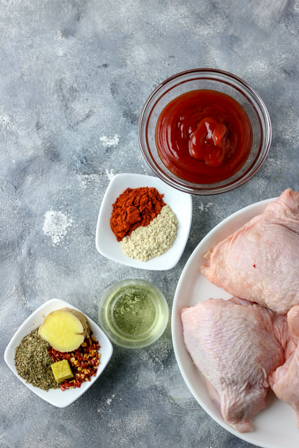 picture of raw chicken thighs and other ingredients