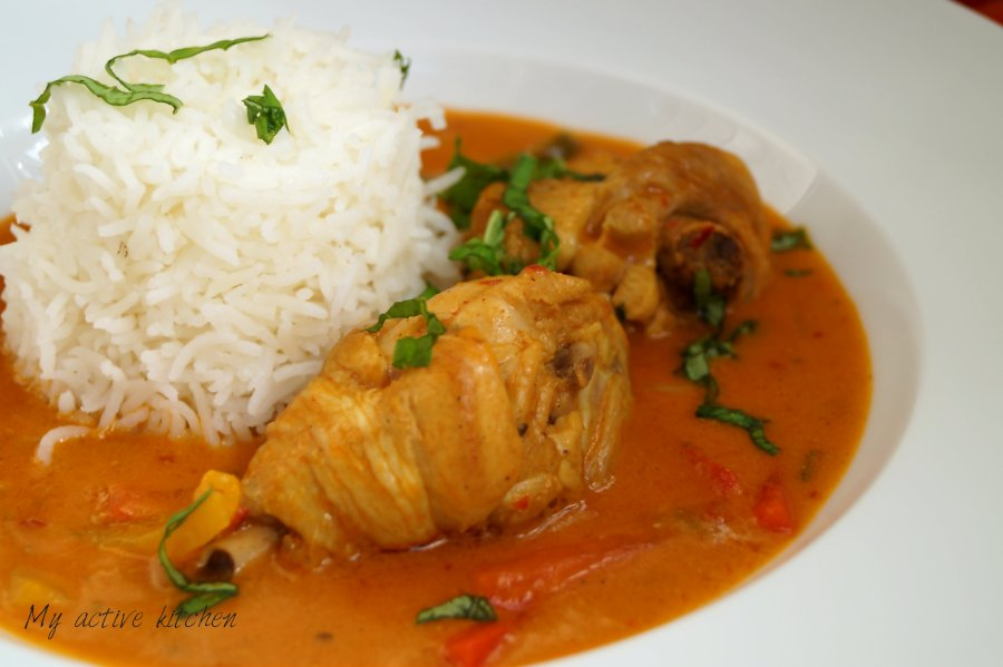 easy coconut chicken curry served with rice.