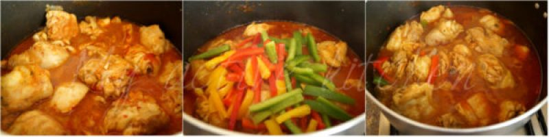 cooking chicken curry.