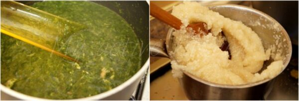 Stovetop eba and ewedu soup.