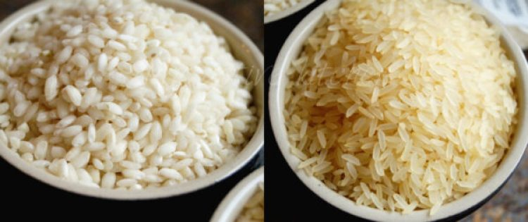 two different types of rice in two separate ramekins