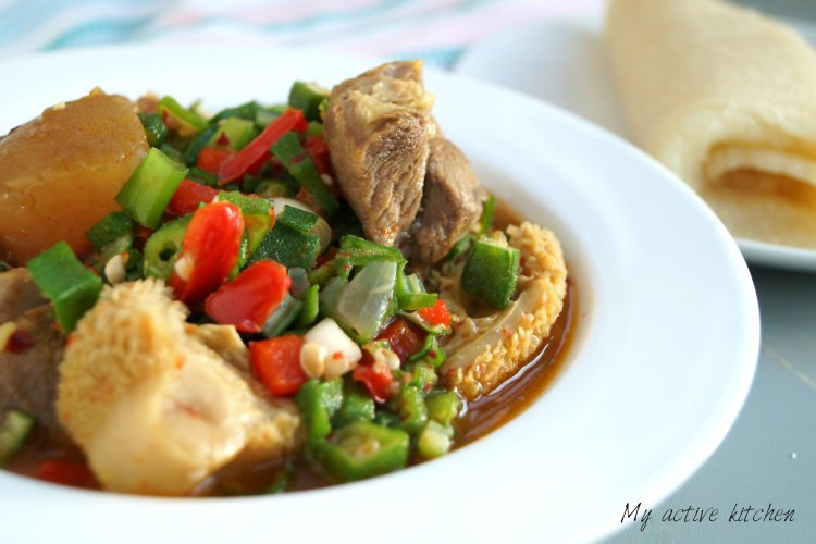 okra soup with assorted meat and rolled eba