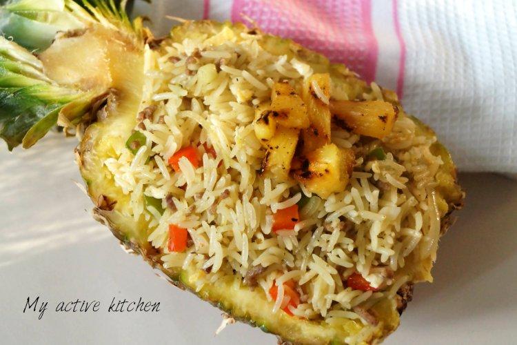 overhead shot of pineapple fried rice