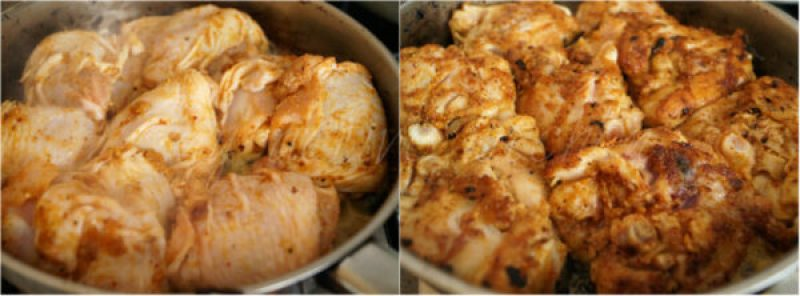 searing chicken in a skillet.