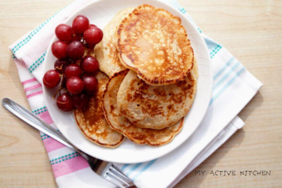 oatmeal pancakes and grape.