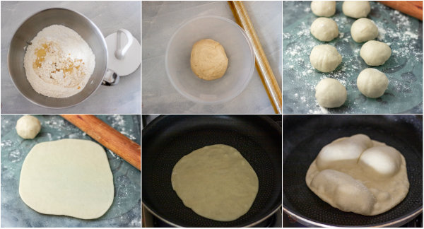 process shot of how to make shawarma bread.