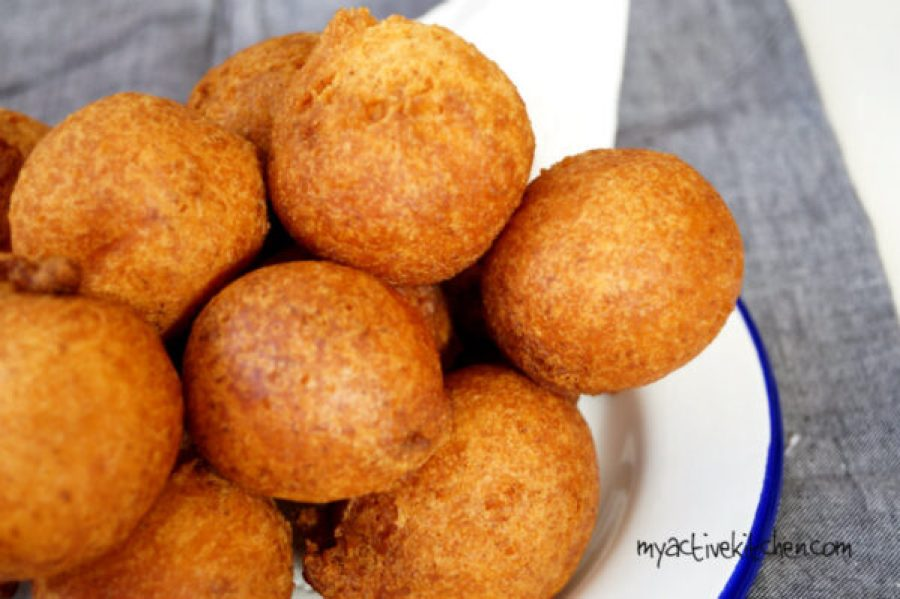image of nigerian puff buns in a white metal plate