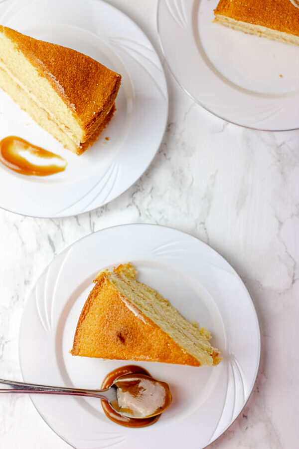 baked dessert with caramel