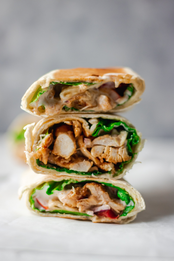 pile of easy chicken wrap