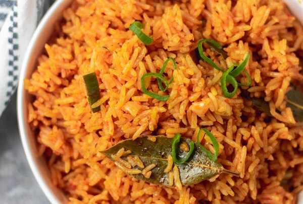 overhead shot jollof rice