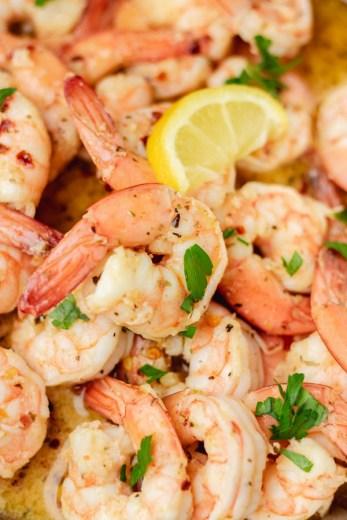 a close shot of garlic butter shrimp