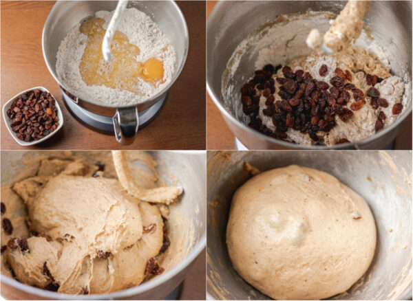 process shot of making hot cross bun