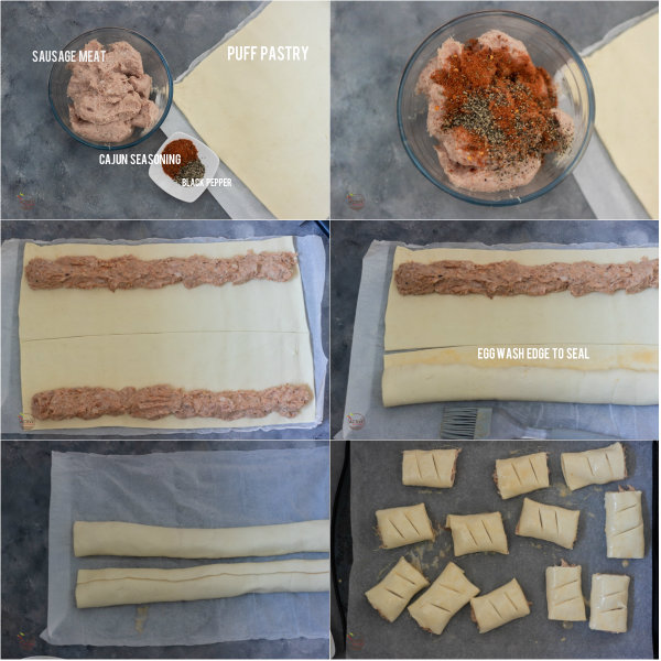 illustration of how to make mini sausage rolls.