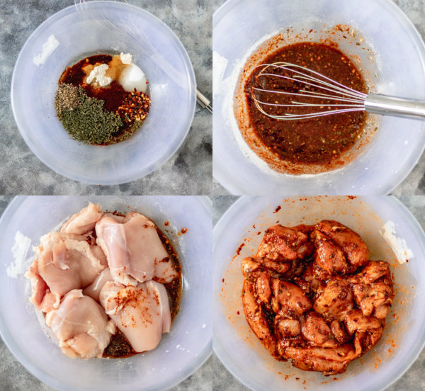 process shot of chicken in the best marinade ever.