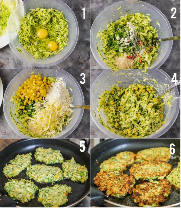 process shot of how to make courgette and sweetcorn fritters step by step.