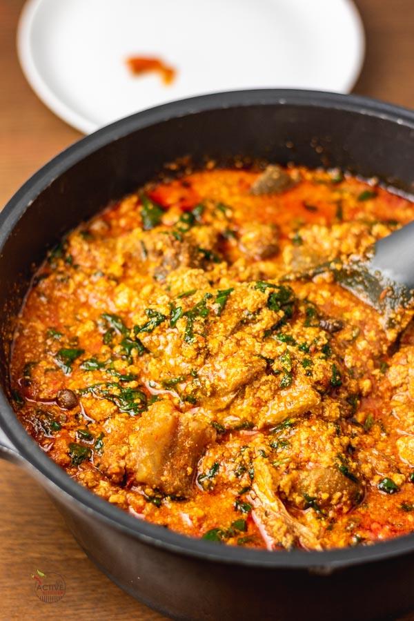 a pot of nigerian egusi soup.