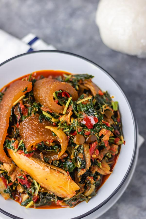 a bowl of efo riro.
