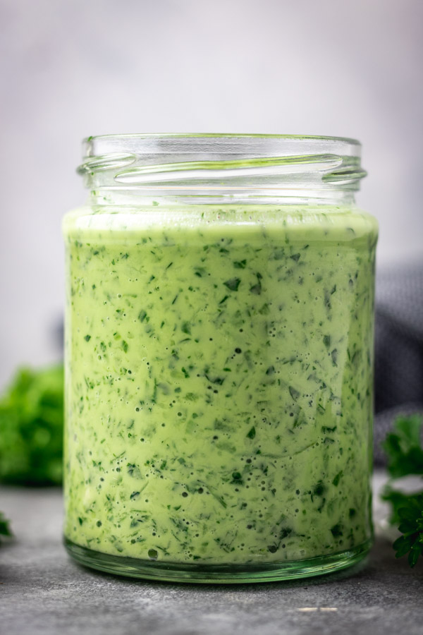 GREEN SAUCE IN A JAR.