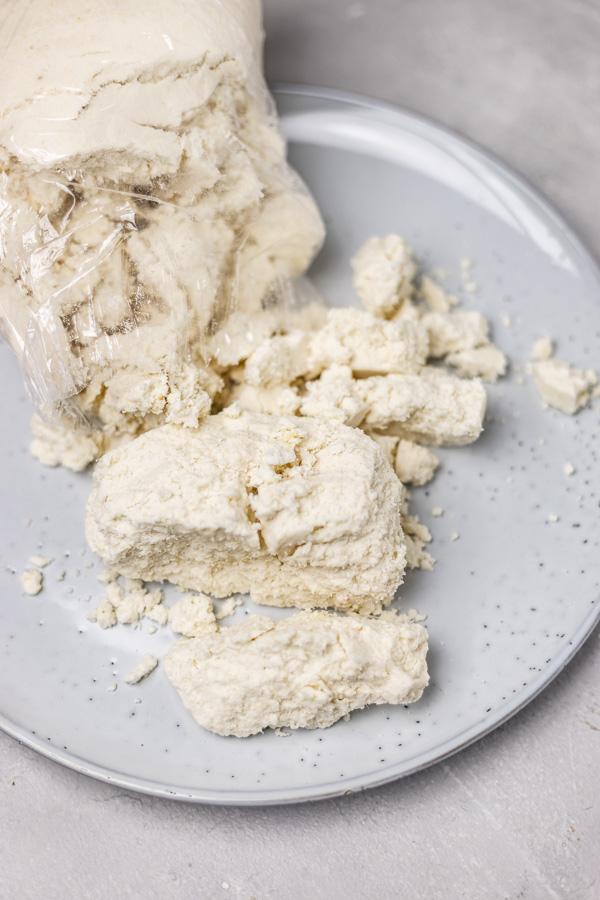 white dough on a plate.