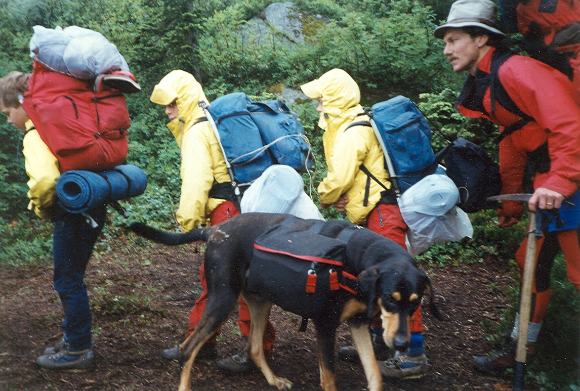 Our dog, Cochise, and enormous packs during a hike of the PCT between Stevens Pass and Snoqualmie Pass as kids.