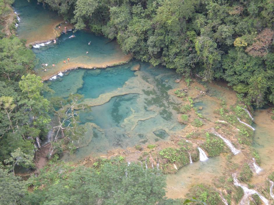 A view of the splendid Semuc Champey natural rock pools