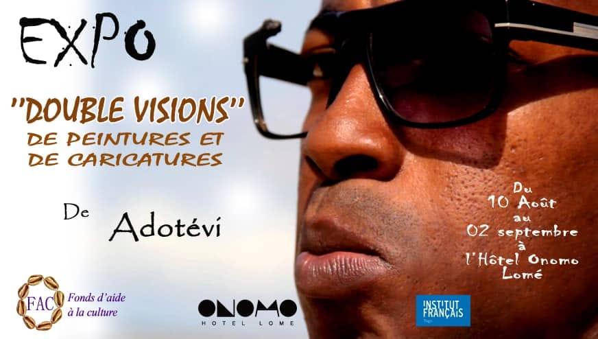 """""""Double Visions de peintures et  de caricatures"""": L'art Adotévi exhibé  à l'hôtel Onomo de Lomé"""