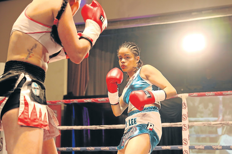 AUGUST 16, 2015 Leighandre Jegels in action against Liliana Gonzalex from Argentina at the Orient Theatre over the weekend PICTURE ALAN EASON ©DAILY DISPATCH