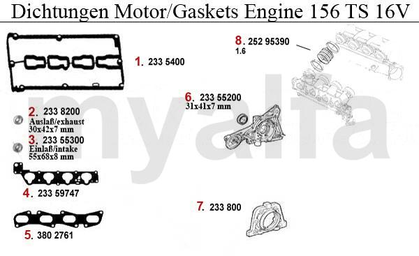 Alfa Romeo ALFA ROMEO 156 ENGINE GASKETS TS 16V GASKETS ENGINE