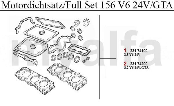 Alfa Romeo Alfa Romeo 156 Motordichtungen 2.5/3.2 V6 24V