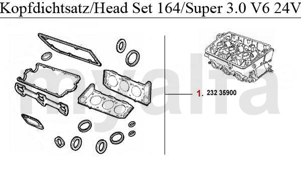 Alfa Romeo ALFA 164/SUPER ENGINE GASKETS 3.0 V6 24V HEAD