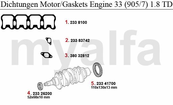 Alfa Romeo ALFA ROMEO 33 (905/907) ENGINE GASKETS (905/7