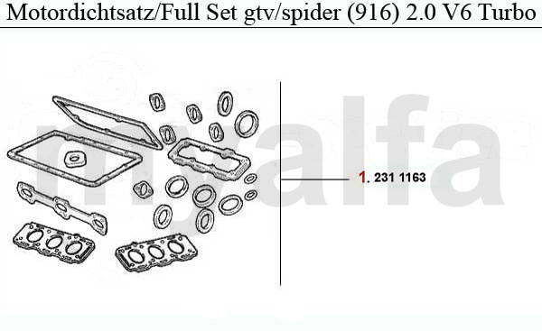 Alfa Romeo ALFA ROMEO GTV/SPIDER (916) ENGINE GASKETS 2.0