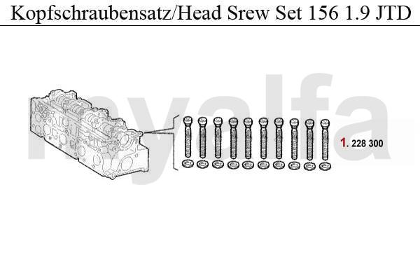 Alfa Romeo ALFA 156 ENGINE GASKETS 1.9 JTD HEAD SCREW SET