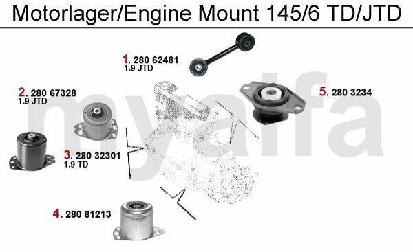 Alfa Romeo ALFA ROMEO 145/146 ENGINE MOUNT 1.9 TD/JTD