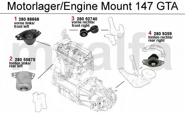 Alfa Romeo ALFA ROMEO 147 ENGINE MOUNT 3.2 V6 24V/GTA