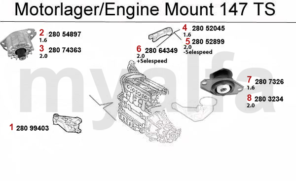 Alfa Romeo ALFA ROMEO 147 ENGINE MOUNT TS 16V