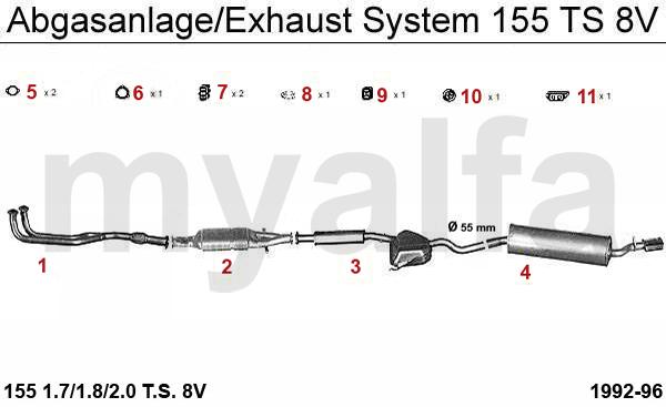 Alfa Romeo ALFA ROMEO 155 EXHAUST SYSTEM TS 8V