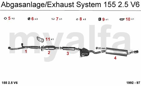 Alfa Romeo ALFA 155 EXHAUST SYSTEM 2.5 V6 ALFA 155 EXHAUST
