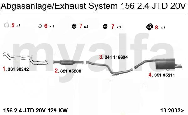 Alfa Romeo Alfa Romeo 156 Abgasanlage 2.4 JTD 20V