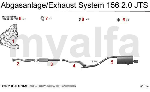 Alfa Romeo ALFA ROMEO 156 EXHAUST SYSTEM 2.0 JTS ALFA