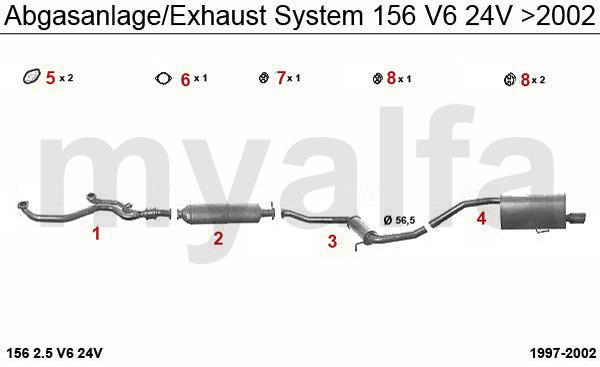 Alfa Romeo Alfa Romeo 156 Abgasanlage 2.5 V6 24V Bj. >02
